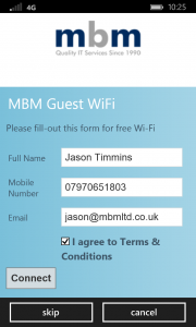 MBM Managed WiFi Portal Screengrab